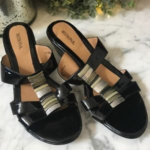 Merona Black Patent Sandals size 9